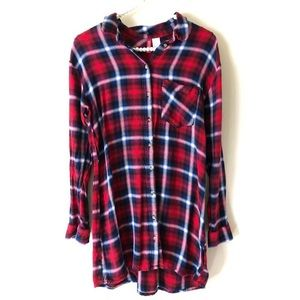 H&M Red-Blue Plaid Shirt Dress/Tunics | Sz 4